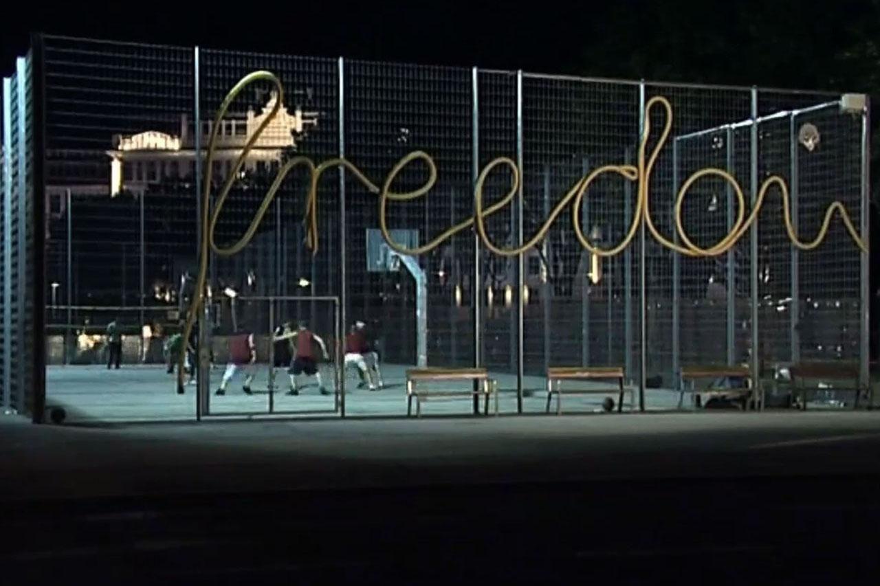 """Freedom. Installation, 2005. Basketball court Stadtwildnis Gaudenzdorfer Gürtel, Vienna (AT). Video still: """"Sneaker Stories"""", Katharina Weingartner."""
