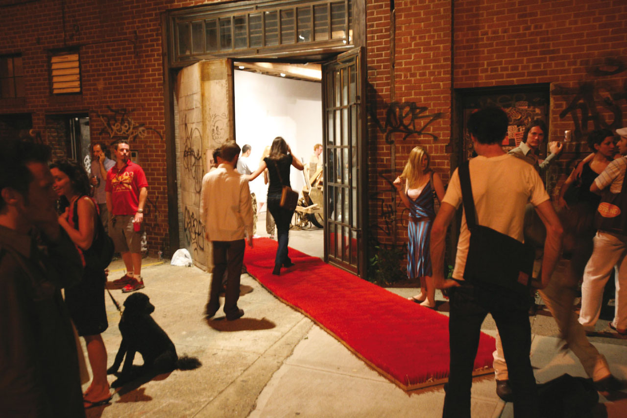 "Red Carpet. Installation, 2006. Group exhibition ""Knock Knock Picnic"", Jack The Pelican Presents Gallery. Brooklyn, New York City, NY (US). Photo: Assocreation."